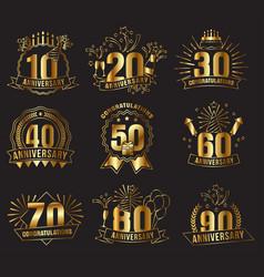 anniversary golden numbers set vector image vector image