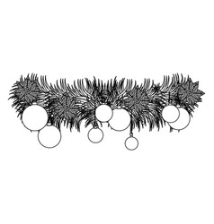 figure wreath with christmas balls icon vector image