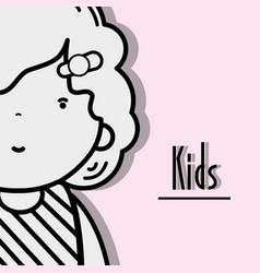 Girl kid with hairstyle and kawaii avatar vector