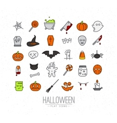 Halloween flat icons color vector image