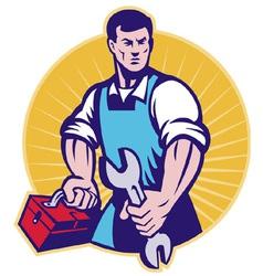 Mechanic tradesman worker spanner vector