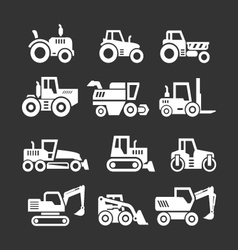 Set icons of tractors farm and buildings machines vector image