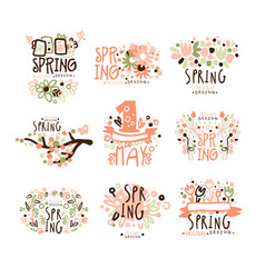 spring 1 may set for label design spring vector image vector image