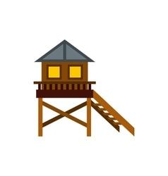Wooden stilt house icon flat style vector image