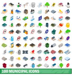100 municipal icons set isometric 3d style vector image