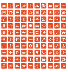 100 wealth icons set grunge orange vector