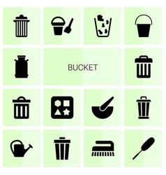 14 bucket icons vector