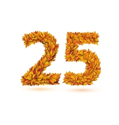 25 number of autumn fall bright orange leaves vector