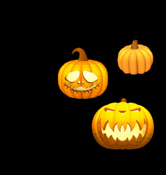 a set of pumpkins on a black background for vector image