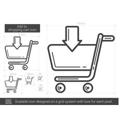 Add to shopping cart line icon vector