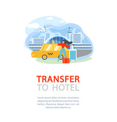 airport transfer service flat promo flyer vector image