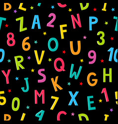 Alphabet number cartoon pattern with stars vector