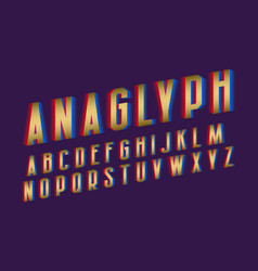 Anaglyph alphabet golden cyan red vibrant font vector