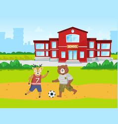 animals students bear and deer play football on vector image