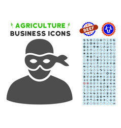 Anonimious thief icon with agriculture set vector