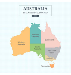 Australia map full color high detail separated all vector