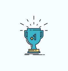 award trophy win prize first flat icon green and vector image