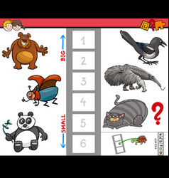 Big and small animals educational game for kids vector