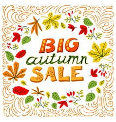Big autumn sale lettering vector image