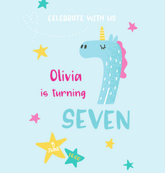 Birthday baby cute card with unicorn number seven vector