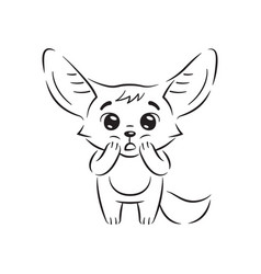 black and white amazed fennec fox with paws vector image