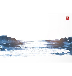 Blue landscape with lake view in asian style hand vector