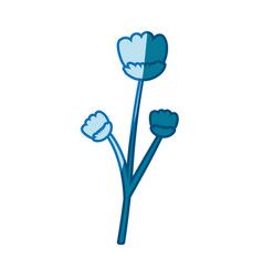 Blue silhouette caricature of stem with flowers vector