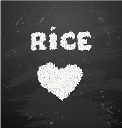 Bowl of white rice on blackboard vector image vector image