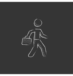 Businessman walking with briefcase Drawn in chalk vector