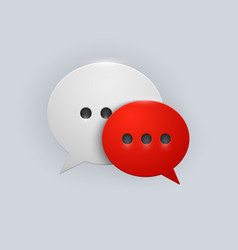 Button red and white speech bubbles vector