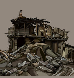 Cartoon ruins a wooden house in stones vector