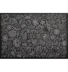 Cartoon set of Honey theme objects vector