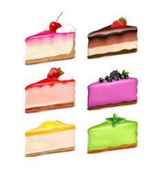 Cheesecake pieces realistic set vector