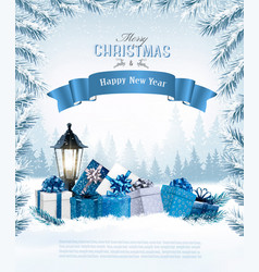 christmas holiday background with a blue ribbon vector image