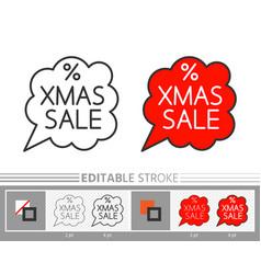 christmas sale bubble banner xmas line icon vector image