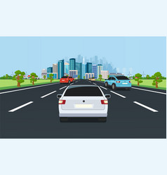 city traffic on highway with panoramic views of vector image