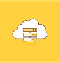 cloud storage computing data flow flat line vector image