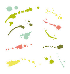collection hand-drawn splashes set brush vector image