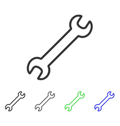 Contour wrench flat icon vector