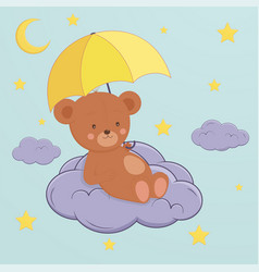 cute bear sits on moon under an umbrella vector image
