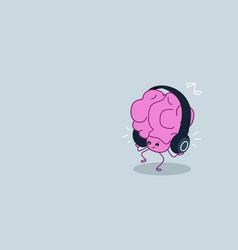 Cute human brain organ listening music with vector