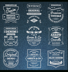 Denim jeans typography logo emblems set vector image
