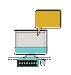 Desktop computer with bubble dialogue in vector