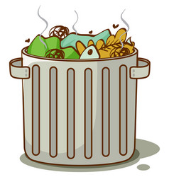 Dirty trash in bin on white background vector