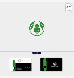 Eco leaf podcast creative logo template get free vector