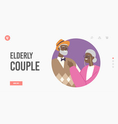 Elderly african couple landing page template vector