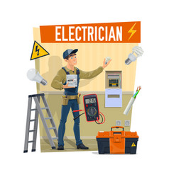 Electrician with tools toolboox and equipment vector
