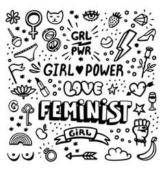 feminism symbols icon set feminist movement vector image