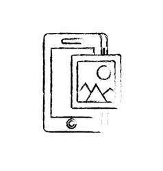 figure smartphone technology with picture icon vector image
