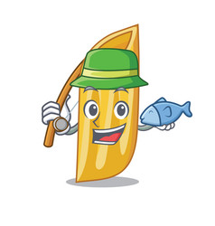 Fishing penne pasta character cartoon vector